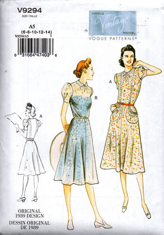 Vogue 9294 reissued 30s dress