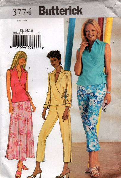 Butterick 3774 oop wrap top skirt and pants