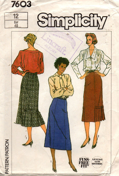 simplicity 7603 pleated 80s skirts