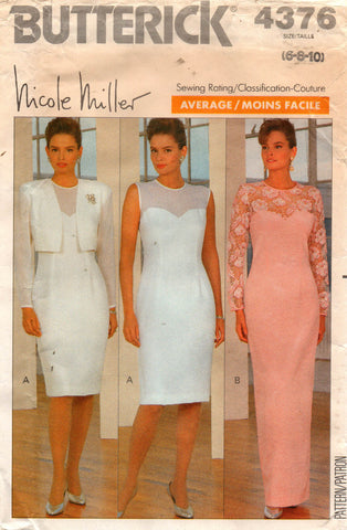 butterick 4376 nicole miller evening dress 80s