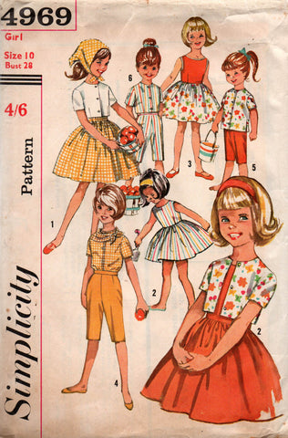 simplicity 4969 girls 60s dress top scarf and pants