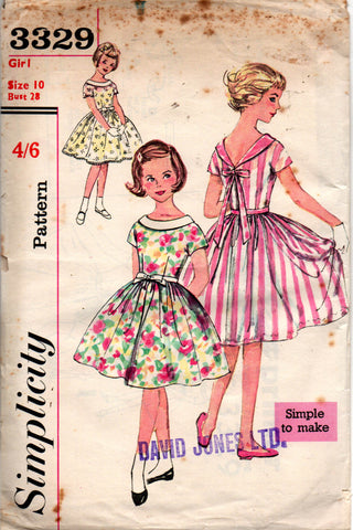 simplicity 3329 50s girls dress