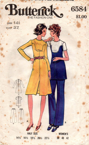 butterick 6584 half size dress tunic and pants 70s