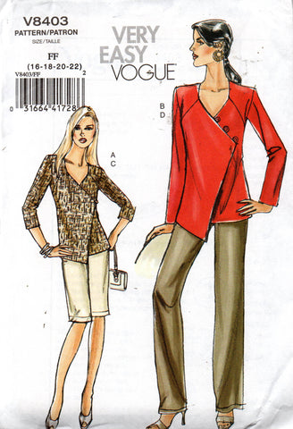 Vogue 8403 oop wrap top shorts and pants