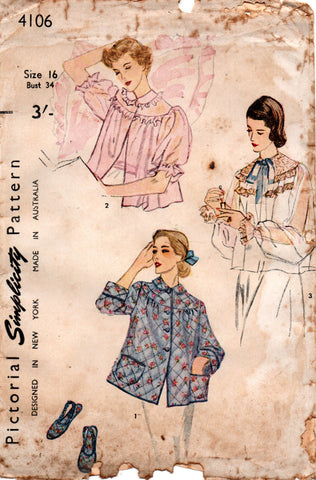simplicity 4106 50s bed jacket and slippers