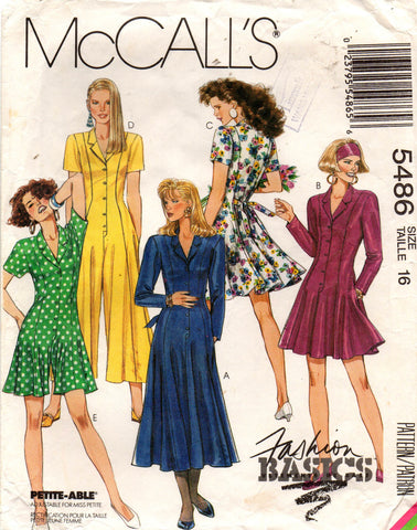 McCall's 5486 90s dress and jumpsuit