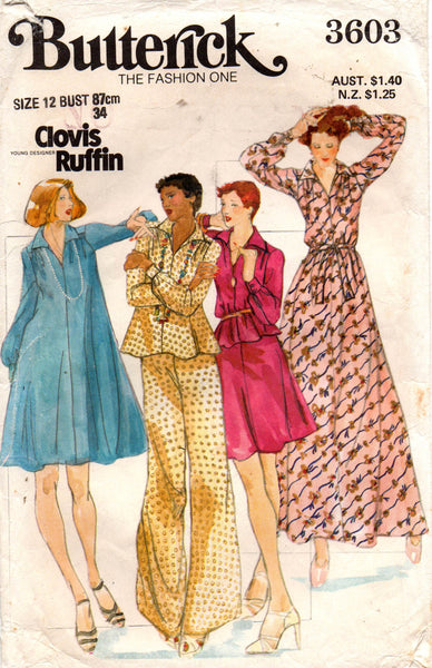 butterick 3603 70s clovis ruffin top skirt dress pants