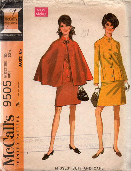 McCall's 9505 60s skirt suit and cape