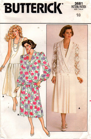 butterick 3681 80s dress and jacket
