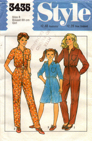 af9b045a6 Style 3435 Girls Jumpsuit Overalls   Rompers 80s Vintage Sewing Pattern  Size 8 UNCUT Factory Folds