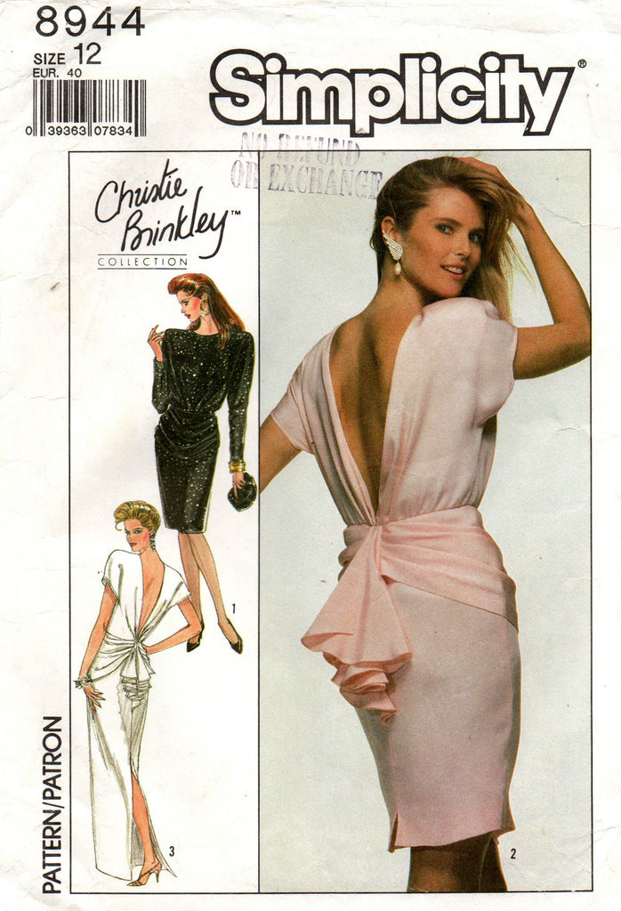 Simplicity 8944 Womens Christie Brinkley Back Draped Evening Dress 198