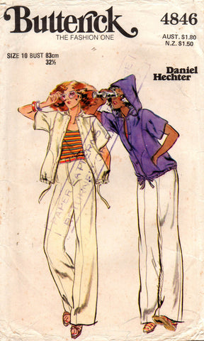 butterick 4846 daniel hechter 70s top and pants