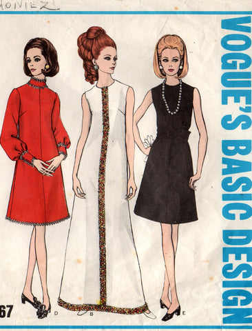 874f40da14d1 Vogue Basic Design 2067 Womens A Line Evening Dress 60s Vintage Sewing  Pattern Size 12 Bust 34 Inches