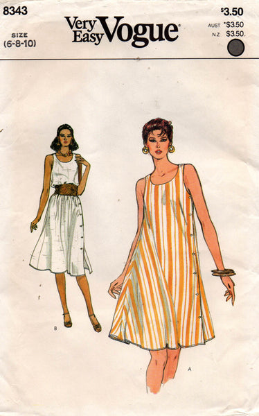 Vogue 8343 side buttoned tent dress 80s