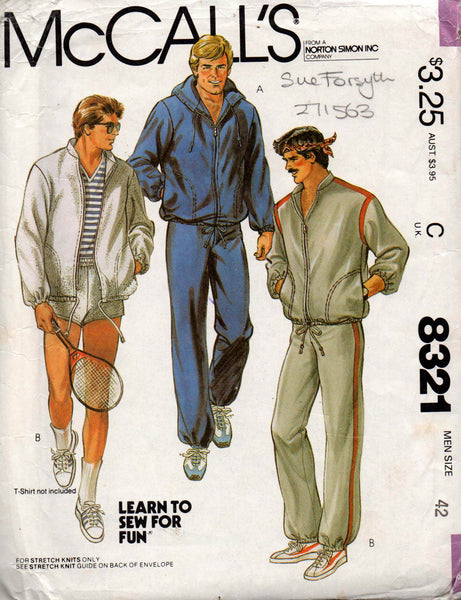 McCall's 8321 mens tracksuit and shorts 80s