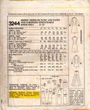 McCall's 3244 Womens Stretch Dress Tunic & Pants 1970s Vintage Sewing Pattern Size 12 Bust 34 inches UNCUT Factory Folded