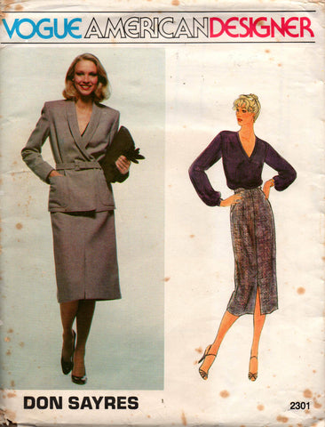 Vogue American Designer 2301 DON SAYRES Womens Jacket Skirt Belt & Top 80s Vintage Sewing Pattern Size 12 Bust 34 Inches UNCUT Factory Folded