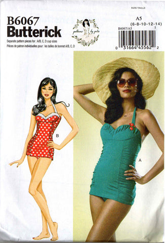 Butterick B 6067 GERTIE'S Womens One Piece Bombshell Stretch Swimsuit OOP Sewing Pattern Size 14 - 22 UNCUT Factory Folded
