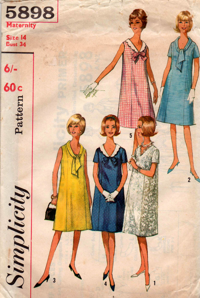 7a96e32dbe2 simplicity 5898 60s maternity dresses  Simplicity 5898 Womens Vintage  Maternity Tent Dress 60s Vintage Sewing Pattern Size ...