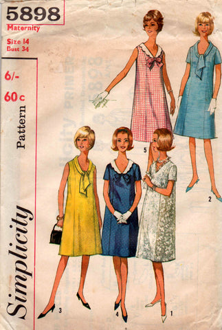 9f29ed10bbf11 Simplicity 5898 Womens Vintage Maternity Tent Dress 60s Vintage Sewing  Pattern Size 14 Bust 34 inches