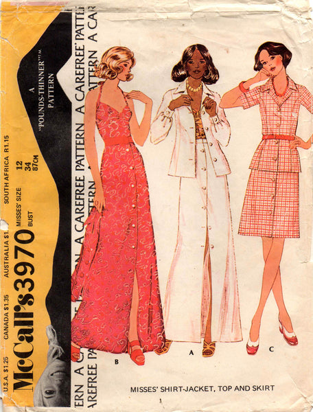 McCall's 3970 halter top shirt jacket skirt 70s