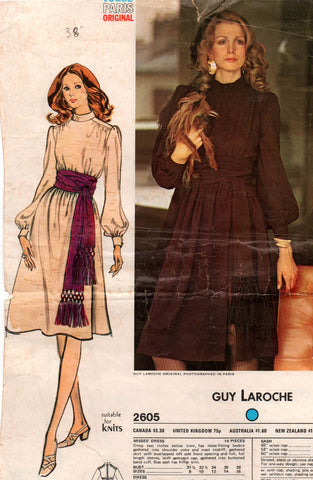 Vogue Paris Original 2605 GUY LAROCHE Womens Long Sleeved Boho Dress 70s Vintage Sewing Pattern Size 16 Bust 38 inches UNCUT Factory Folded NO ENVELOPE