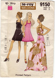 Le Roy Weldon's 9150 Womens Halter Mini or Maxi Dress 60s Vintage Sewing Pattern Bust 38 inches