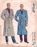 McCall 5465 Mens Robe Dressing Gown 1940s Vintage Sewing Pattern Size MEDIUM Chest 38 - 40 inches