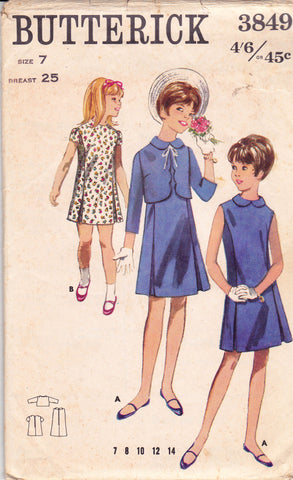 Butterick 3849 Girl's Dress & Bolero Jacket 60s Vintage Sewing Pattern Size 7 Chest 25 inches UNUSED Factory Folds