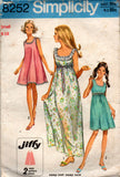 Simplicity 8252 Womens JIFFY A Line Nightgown 60s Vintage Sewing Pattern Sizes SMALL & MEDIUM