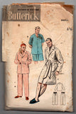 Butterick 6317 Mens Pajamas in 2 Lengths & Robe 1950s Vintage Sewing Pattern Size SMALL