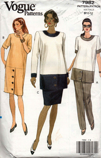 Vogue 7982 Womens Maternity Dress Tunic Skirt & Pants 90s Vintage Sewing  Pattern Size 8 10 12 UNCUT Factory Folded