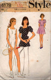 Style 4178 Womens Tennis Dress Top Dress & Panties 70s Vintage Sewing Pattern Size 12 or 14 Bust 34 or 36 inches