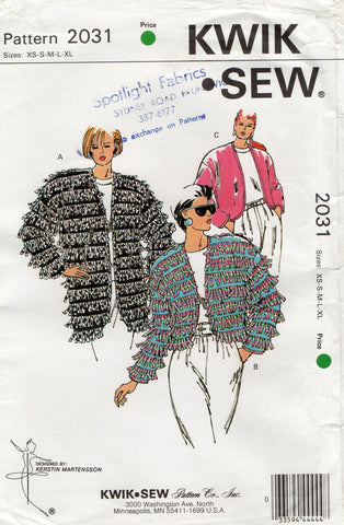 Kwik Sew 2031 Womens Jackets with Optional Fringe Trim 90s Vintage Sewing Pattern Size XS S M L XL UNCUT Factory Folds