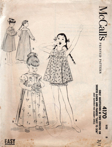 McCall s 4170 Shortie Nightgown with Panties or Nightdress 50s Vintage  Sewing Pattern Size 8 ae09f71a4