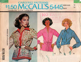 McCall's 5445 Womens Long Sleeved Blouses 70s Vintage Sewing Pattern Size 16 Bust 38 inches