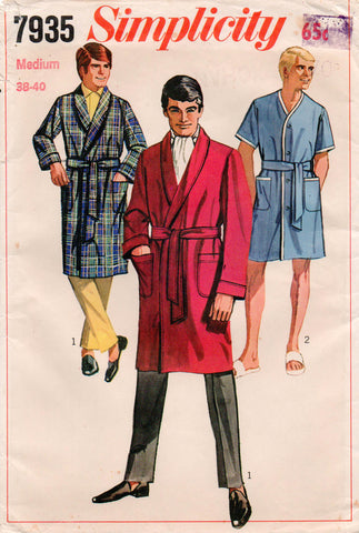 Simplicity 7935 Mens Dressing Gown or Collarless Robe 60s Vintage Sewing  Pattern Size MEDIUM Chest 38 - 40 inches 9cfb7a6dc
