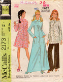 McCall's 2173 Womens Retro Maxi Robe & Pants 1960s Vintage Sewing Pattern Size 10 or 12