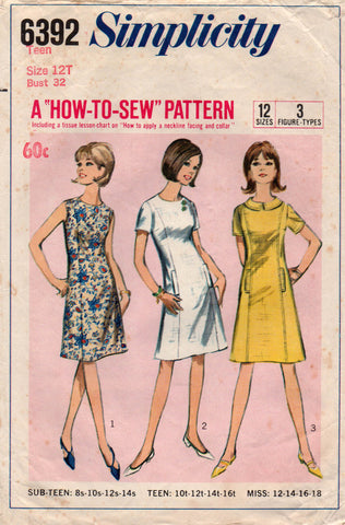 3be97c0f08ae Simplicity 6392 Teen Shift Dress 60s Vintage Sewing Pattern Size 12T Bust  32 inches