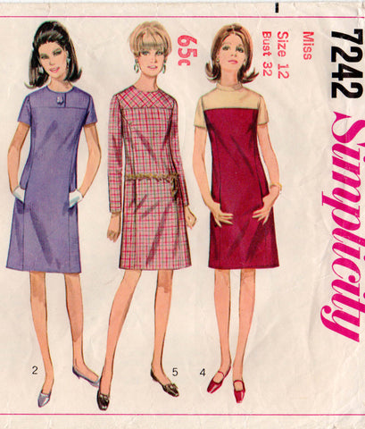Simplicity 7242 Womens Yoked Shift Dress with Pockets 60s Vintage Sewing Pattern Size 12 Bust 32 inches