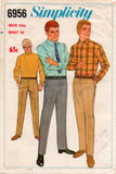 Simplicity 6956 Mens Shirt & Hipster Pants 60s Vintage Sewing Pattern Chest 36 or 38 inches
