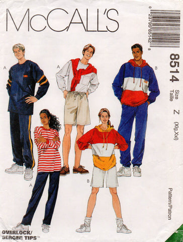 McCall's 8514 90s unisex tracksuits & shorts