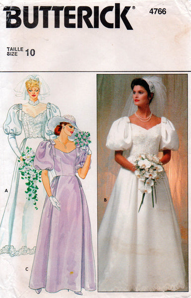 butterick 4766 80s wedding dress