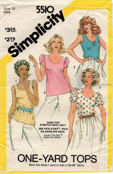 simplicity 5510 80s stretch tops