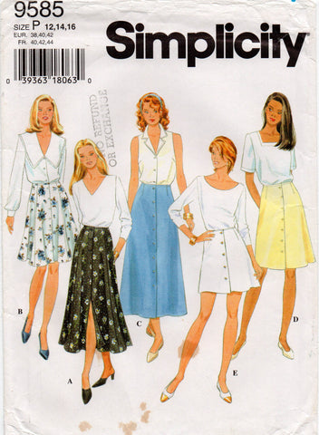 simplicity 9585 90s skirts
