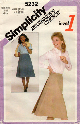simplicity 5232 easy skirt 80s