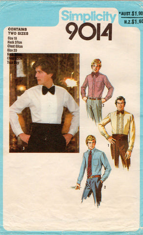 simplicity 9014 teen boys shirt bow tie and cummerbund 70s