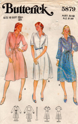 butterick 5879 70s shirtdress