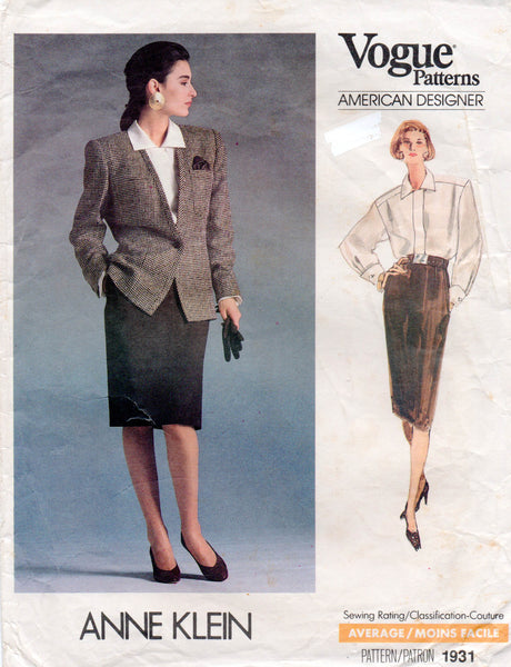 vogue 1931 anne klein skirt suit and blouse 80s