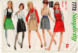 Simplicity 7772 Junior Petite Womens Skirt Blouse & Vest 60s Vintage Sewing Pattern Size 7JP Bust 32 inches